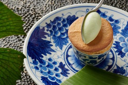 Pistachio Soufflé, Pandan Ice Cream